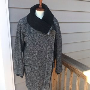 Vince dark tweed asymmetrical funnel neck coat